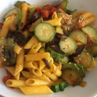 Corn penne with vegetable caponata
