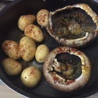salmón hilada con nuevas patatas y gratinado de setas sin pan paso 3