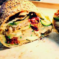 Stuffed vegetable pocket, aromatic bread and mozzarella veg step 1