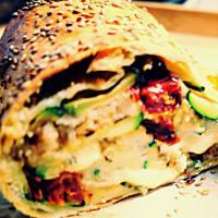 Stuffed vegetable pocket, aromatic bread and mozzarella veg step 5