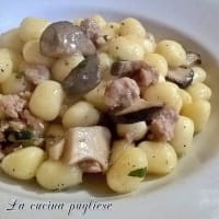 Gnocchi with sausage and cardoncelli mushrooms