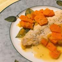 naranja Sogliola, con contorno zanahoria