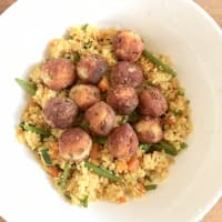 Vegetable cous cous with fish balls