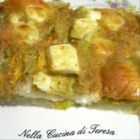 Pastel de patata y flores de calabaza