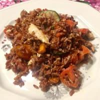 Venere rice with mackerel and zucchini