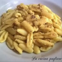 Cavatelli with tuna, robiola and saffron