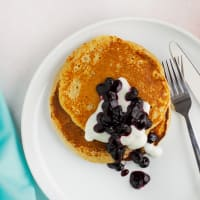 Banana pancake with blueberry compote