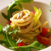 Linguine with celery leaves pesto, sunflowers seeds and sprouts of