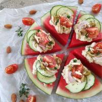 Finger food con Anguria e crema di Tofu alle Olive