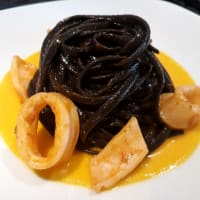 Linguine in black with calamari