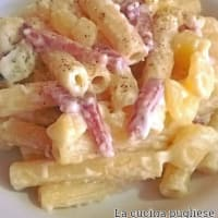 Sedanini with potatoes, cream and speck