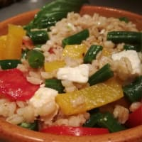 Barley salad with green beans and feta