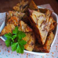 Croquetas de polenta y setas, cocidas al horno.