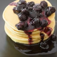 Pancakes with blueberry compote.