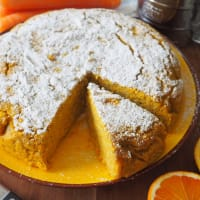 Tarta vegana con naranjas y zanahorias