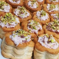 Voulevant with mortadella and pistachios