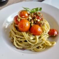 Spaghetti al Pesto di Rucola ,tonno,pomodorini Pistacchio