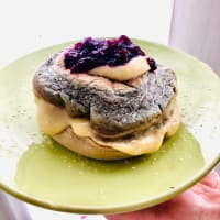 Protein pancake with wild berries and lemon cream filling