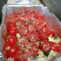 Pasta con tomate cherry y calabacín
