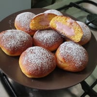 Rosquillas frescas con crema de fresa!