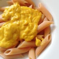 Pasta di lenticchie con crema di carote