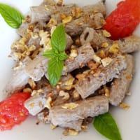 Macarrones de espelta con crema de berenjena, tomate cherry y nueces. paso 6