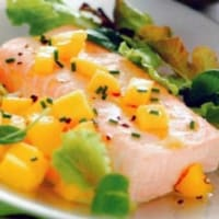 Tropical noodles with anti-overweight salmon