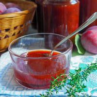 Plum jam and thyme