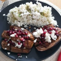 Mint rice and eggplant with pomegranate
