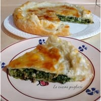 Savory pie with turnip tops and sausage