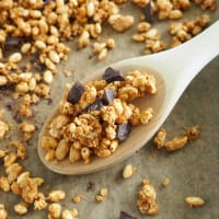 Granola with peanuts and chocolate