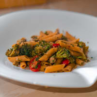 Penne of Yellow Lentils with Oysters, Broccoli and Cherry Tomatoes