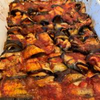 Rollitos de berenjena con mozzarella ligera y parte superior