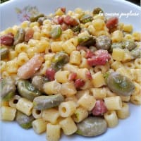 Paternosters with broad beans and bacon