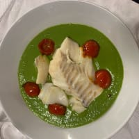 Cod hearts on pea cream with confit tomatoes step 5