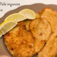Breaded chicken breast with lemon