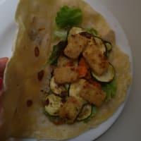 Vegan wrap with tofu and veggies step 8