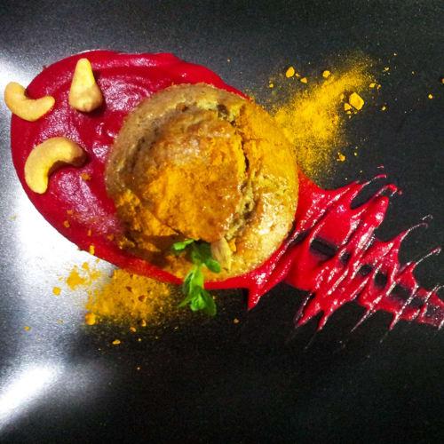 Muffin di carciofi con vellutata di tuberi
