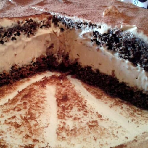 Chocolate cake with mascarpone cream and coffee