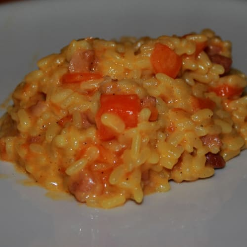 Risotto carrots, bacon and saffron
