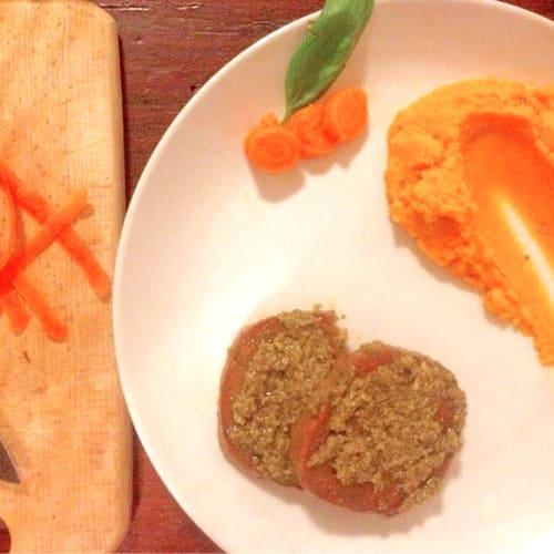 Seitán con zanahorias puré de pesto
