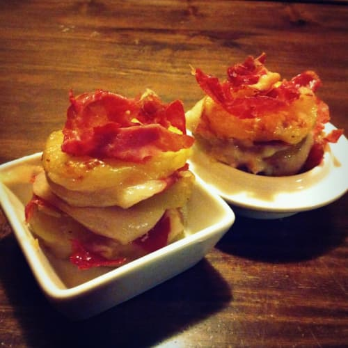 Turrets ham and potato to the two cheeses