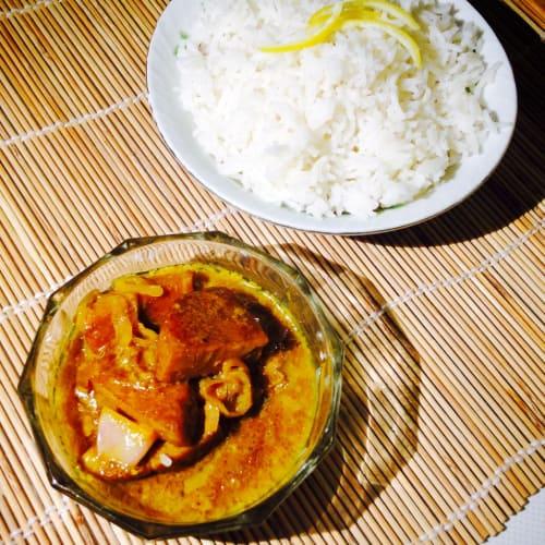 Seitan with coconut milk and basmati