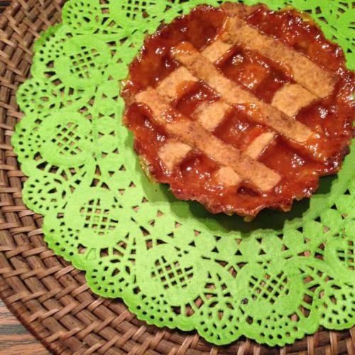 tartas de pastelería de color naranja con avellanas