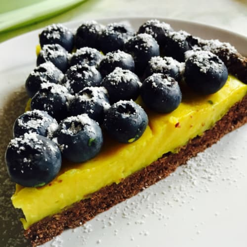 tarta de crema de limón y arándanos