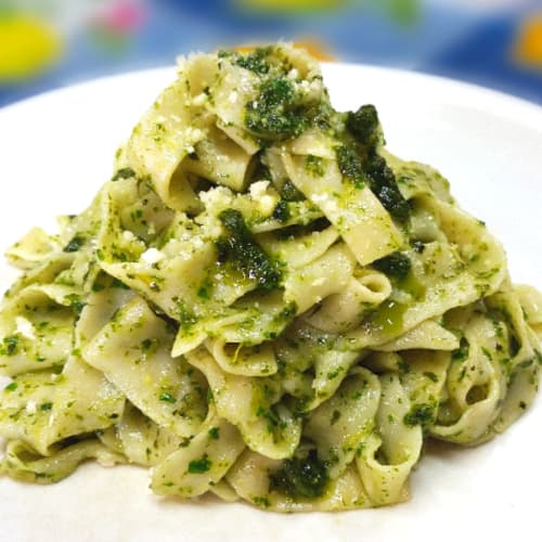 fresh noodles without eggs with arugula pesto and basil