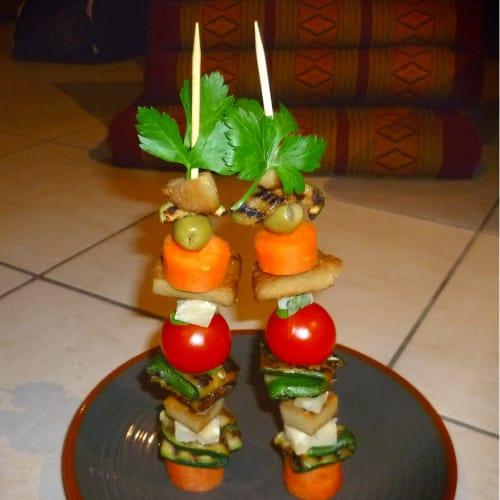 Spiedini di seitan, parmigiano e verdure