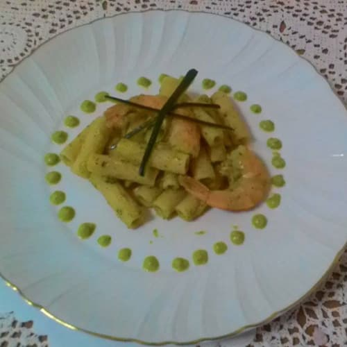 Tortiglioni with cream of zucchini and shrimp tails