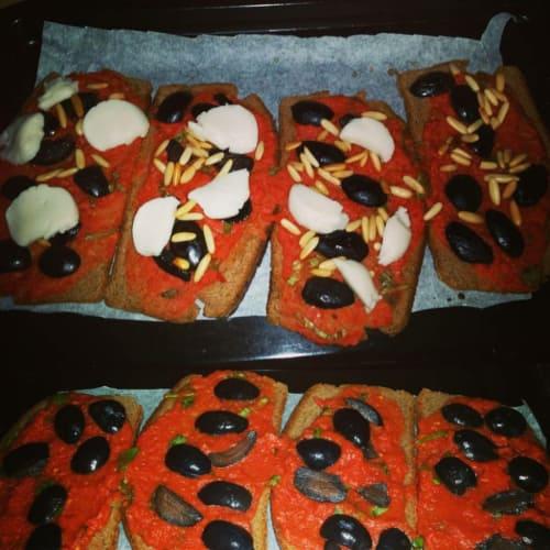 Pizzette de pan integral de centeno