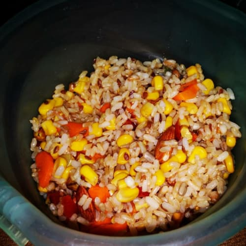 colored brown rice salad